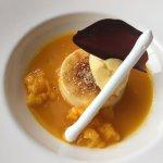 Vanille Crème Brûlée, Mangosüppli, Mangosorbet