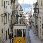 The Elevador da Bica going down towards the waterfront