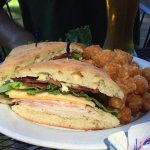 HUGE Club sandwich with super fresh ingredients. Tater tots are always perfection!