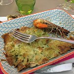 Ravioli and prawns baked to a crisp...