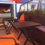 outside seating with canopy and heaters