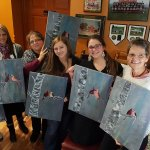 Rachel and the girls at Wine and Canvas Night