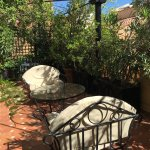 This was our private patio at Grand Hotel Plaza Roma