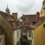 Blick aus dem Maximilian-Zimmer im obersten Stock Richtung Innenhof