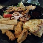 Tasting Platter - spring rolls, calamari, grilled prawns, garlic pizza & grilled chicken.