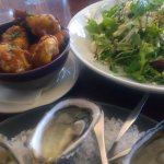 Crispy chicken wings; beetroot & feta salad and fresh oysters.