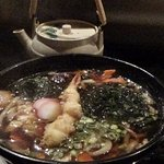 Udon soup with green tea