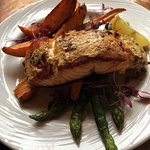 Baked Dijon Salmon with sweet potatoes and asparagus