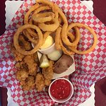 Excellent fried shrimp and Oyster baskets with the best onion rings on the planet for under $15