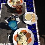 Basil Pecan Chicken Salad and cup of Best Cauliflower soup you've even tasted!