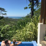 This is the view from the shower in Villa Palma & us in the private plunge pool.