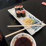 Chirashi, tuna roll and seafood salad at Koume