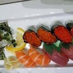 Salmon skin (extra crispy) hand roll and nigiri sushi