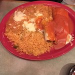tamale, enchilada, rice and beans