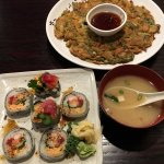 Chef specialty sushi, miso soup, seafood omelette pancake