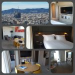 collage of our suite with view over Barcelona and the Sagrada Familia