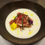 Tuna Tataky with white garlic and almonds cream.