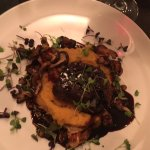 Filet of beef with root vegetable mash, roasted mushrooms & red wine sauce
