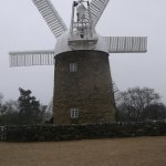 Heage Windmill in February during a snow storm