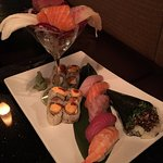 Mixed sushi and sashimi. The roll was just cheese and sauce, the fish was dry, the hand roll bad