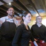 Servers singing Happy Birthday in Italian
