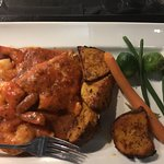 Spicy Chicken and shrimp, wonderful flavor and comes with fresh hot bread