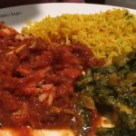 Saag Paneer and chicken madras with garlic rice.