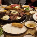 Dinner for 4 at Seoul Garden. Beef and Pork on the grill.
