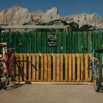 Our up-cycled pallet bike rack out back!