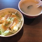 Complimentary miso soup and a salad. Spicy chicken teriyaki, kaki fry, Hawaiian roll.