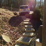 This is a secluded cabin with one tight parking spot. These block steps lead you everywhere.