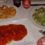 Calamari, Sweet Peppers stuffed with Seafood, Cesar Salad.