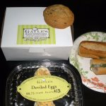 nice little sandwiches, yummy chocolate chip cookies, good deviled eggs.