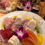 Sashimi platter and an exotic tuna roll