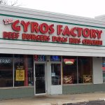 front of & entrance to The Gyros Factory