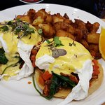 Pulled pork scramble and BLT Benedict