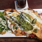 Special today Cajun Chicken Quesadilla w chilli con carne, avacado salsa & garlic yoghurt, yummo