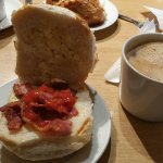Nell's crispy bacon roll and a coffee