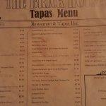 Tapas menu and prices