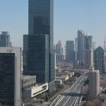 Looking along Yan'an Elevated Road towards downtown and Pudong from 30th floor Shanghai Hilton