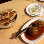 appetizers (kofte berenji and yogurt with dill)