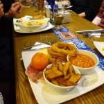 Gamon dish, onion rings were so light, yummy