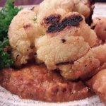 Roast cauliflower, black pea puree, cauliflower fritters