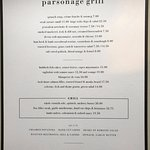 Parsonage Grill Menu served daily 12pm to 11pm