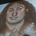 Ross Noble stage curtain.