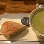 Broccoli and Stilton soup, a first for me but very tasty.