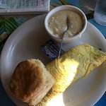 Two egg breakfast and create my own omelette with cheese grits