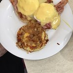 Traditional eggs Benedict, shrimp wrap, sweet potato biscuits, she crab soup