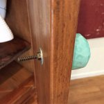"""Armoire door swings in and screw will cut/scrape you. 1""""+ protrusion"""