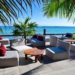 Lounge area overlooking Soliman Bay. Adults only.